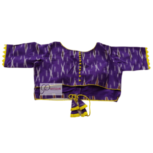 Violet Ikkat Blouse With Yellow Frill And Latkan 1