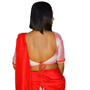 White Red Ikkat Blouse With Lace