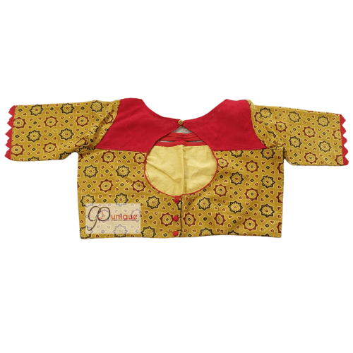 Yellow Ajrak Blouse With Red Khadi Collar 1