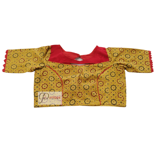 Yellow Ajrak Blouse With Red Khadi Collar