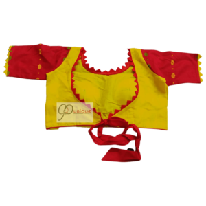 Yellow Jamdani With Red Sleeves And Yelow Frill 1