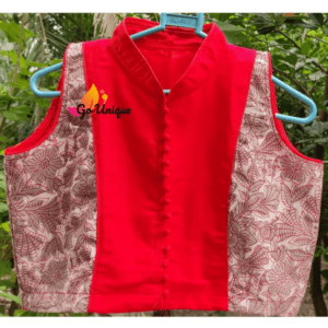 Brown Flower Ajrakand Red Khadi Body Sleeveless Blouse 1