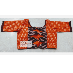 Orange Itkat Blouse 3 Piece Bow Back 1
