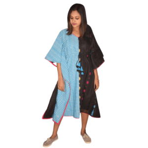 Blue Ikkat And Black Jamdani Half Half Kaftan 1
