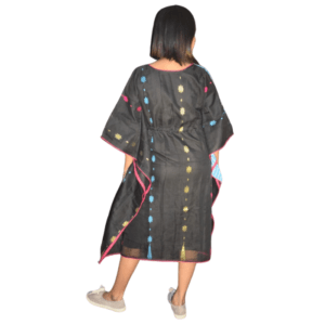 Blue Ikkat And Black Jamdani Half Half Kaftan 7