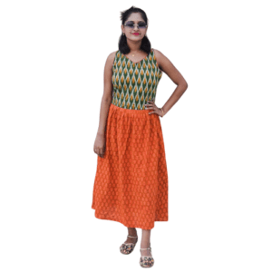 Green Yellow Ikkat With Orange Ajrak Dress