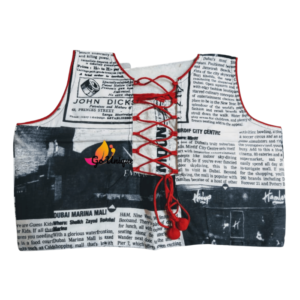 Newspaper Print Sleeveless Blouse Wit Red Dress 1