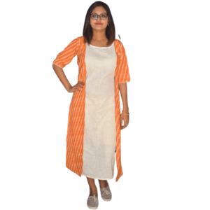 Orange Ikkat With White Khadi Dress 2