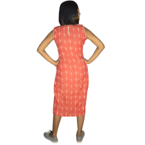 Peach Ikkat With White Work And Whie Collar Sleeveless Dress 1