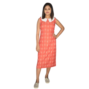 Peach Ikkat With White Work And Whie Collar Sleeveless Dress