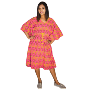Pink Ajrak Kaftan Dress 1