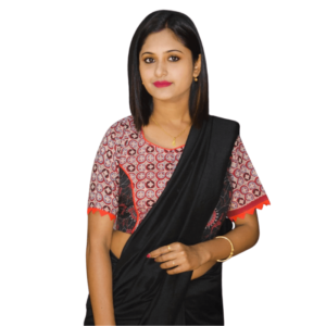 Red Black Combination Ajrak With Orange Frill Blouse