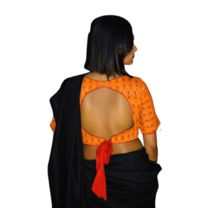 Orange Ikkat With Red Work Blouse 2