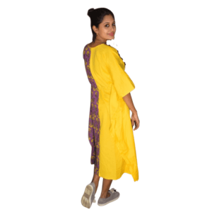 Yellow Khadi With Purple Ajrak Half Half Kaftan 1