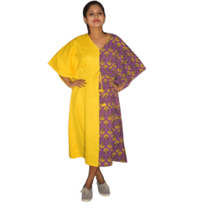 Yellow Khadi With Purple Ajrak Half Half Kaftan