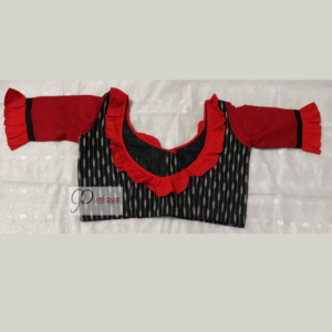Black Ikkat Body With Red Khadi Sleeves And Neck Frill Blouse
