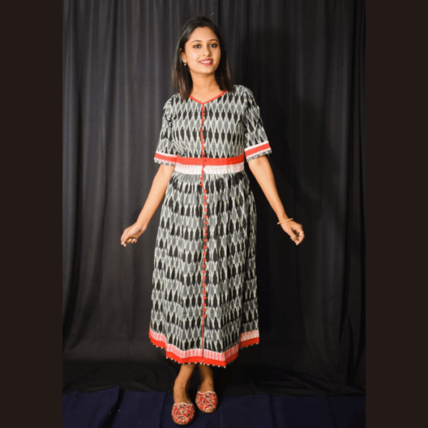 Black Ikkat Dress With Red Border And Frill 2