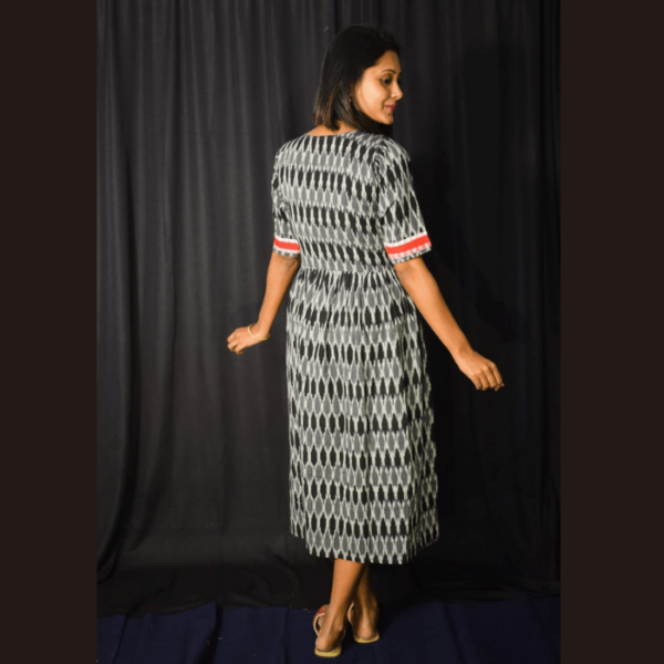 Black Ikkat Dress With Red Border And Frill 3