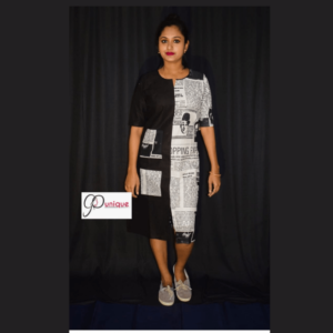 Black Khadi With Newspaper Print Material Dress