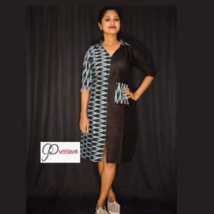 Black Khadi With Black Blue Combination Ikkat Dress