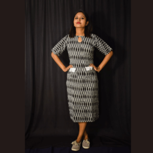 Black Grey Ikkat Dress With White Pocket Design 2