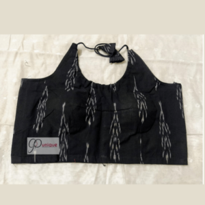 Black Ikkat Sleeveless Blouse With White Work 1