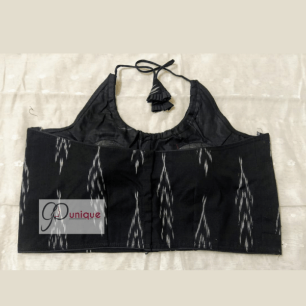 Black Ikkat Sleeveless Blouse With White Work