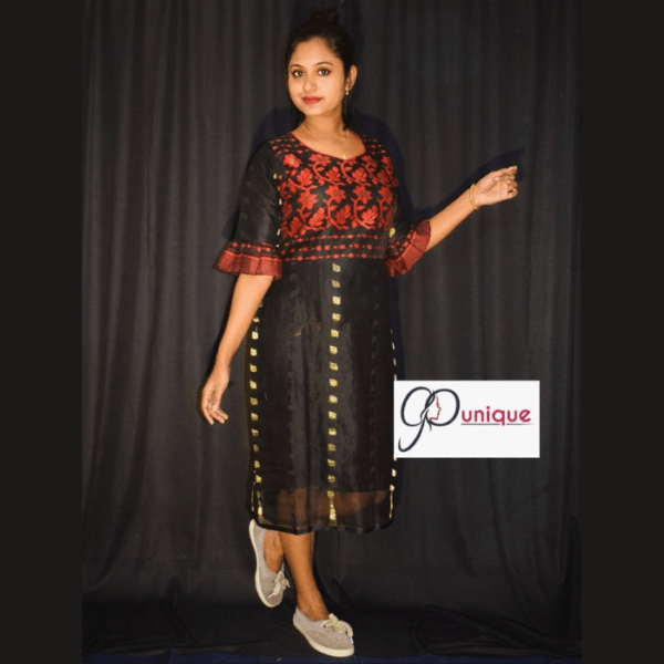 Black Jamdani With Red Work Dress
