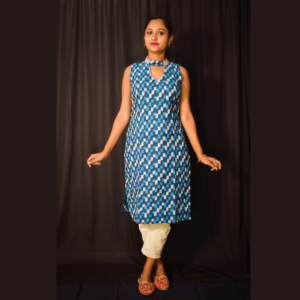 Blue White Combination Sleeveless Ikkat Dress 1
