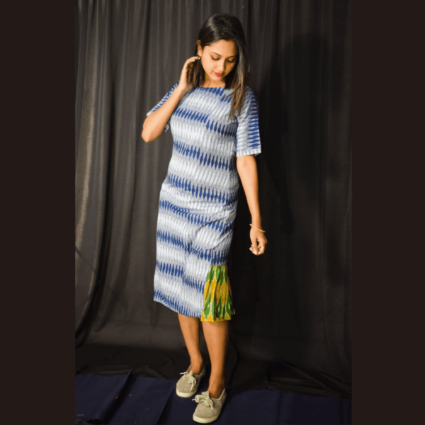 Blue White Ikkat Dress With Green Yellow Side Design 2