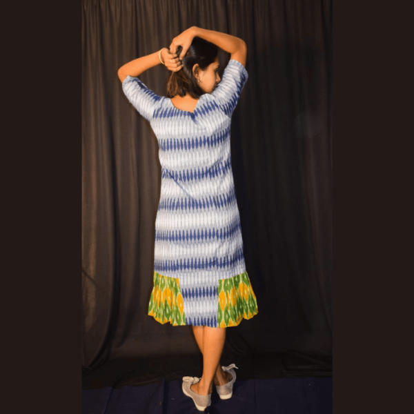 Blue White Ikkat Dress With Green Yellow Side Design 3