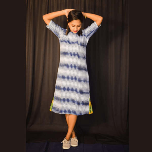 Blue White Ikkat Dress With Green Yellow Side Design
