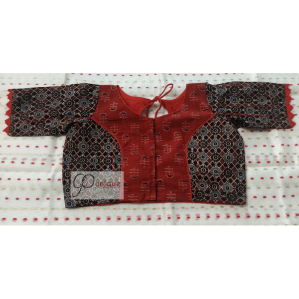 Brown Black Ajrak Combination Glass Sleeve Blouse