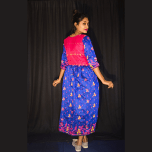 Magenta Blue Full Jamdani Dress 1