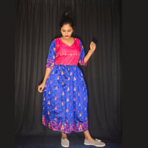 Magenta Blue Full Jamdani Dress