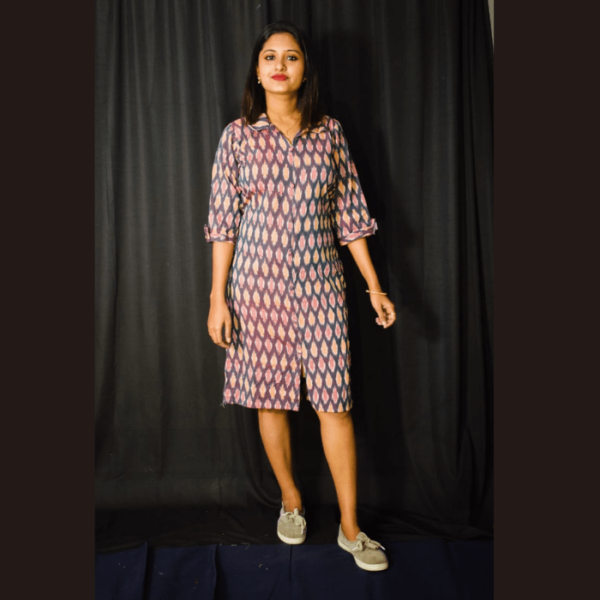 Multi Colour Ikkat Dress With Collar 1