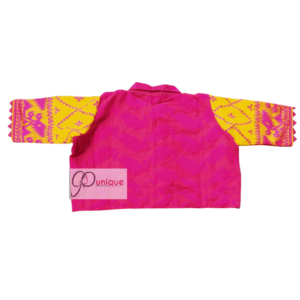 Pink Cotton Silk Body With Yellow Pink Jamdani Sleeves With Pink Collar Blouse 1