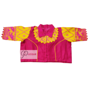 Pink Cotton Silk Body With Yellow Pink Jamdani Sleeves With Pink Collar Blouse