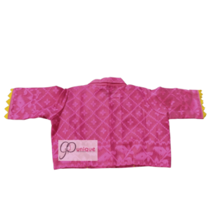 Pink Jamdani With Yellow And Green Neck Design And Pink Collar Blouse 1