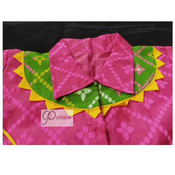 Pink Jamdani With Yellow And Green Neck Design And Pink Collar Blouse 3
