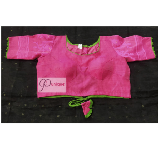 Pink Jamdani With Green Border And Lace Blouse 1