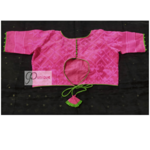 Pink Jamdani With Green Border And Lace Blouse