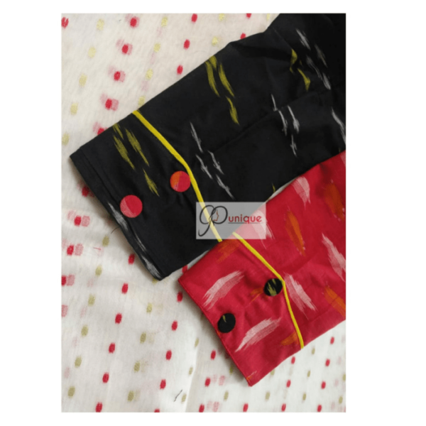 Red Black Half Half Ikkat Blouse With Latkan 2