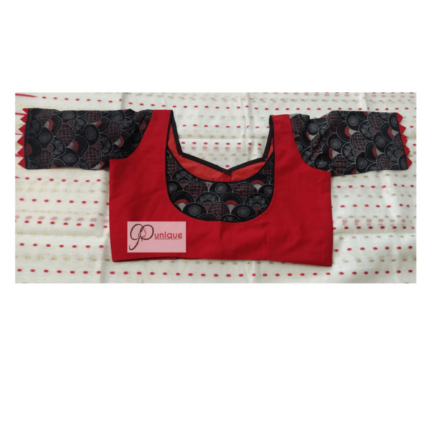Red Cotton Silk Body With Black Ajrak Sleeves And Neck Design Blouse
