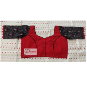 Red Cotton Silk Body With Black Ajrak Sleeves And Neck Design Blouse 1