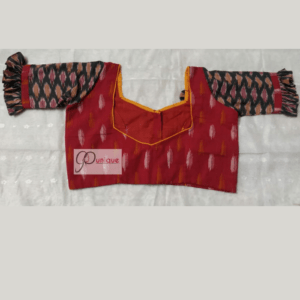 Red Ikkat Body With Multi Colour Ikkat Sleeves Blouse 2