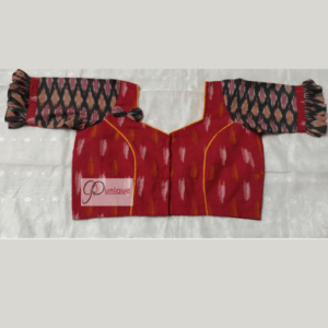 Red Ikkat Body With Multi Colour Ikkat Sleeves Blouse
