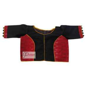 Red Ikkat With Black Khadi Combination Blouse 1