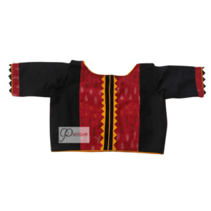 Red Ikkat With Black Khadi Combination Blouse