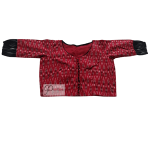 Red And Black Ikkat Combination Blouse 1 (1)